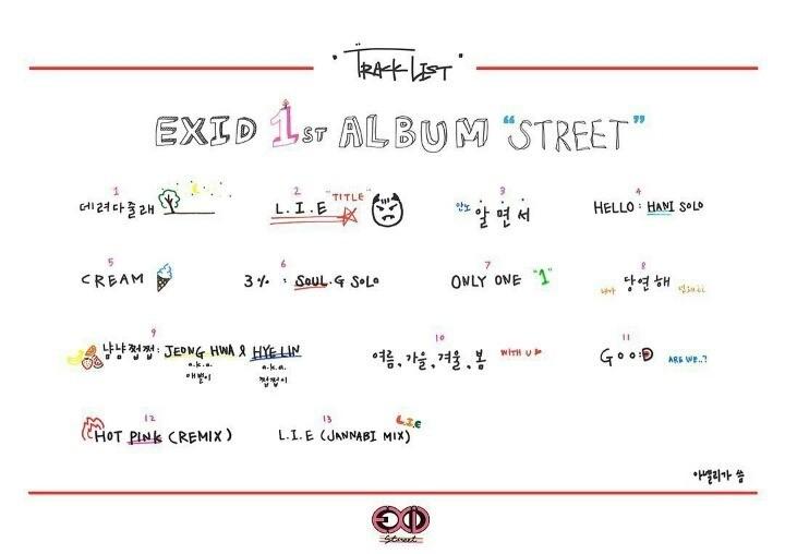EXID1stフルアルバム「Street」収録曲